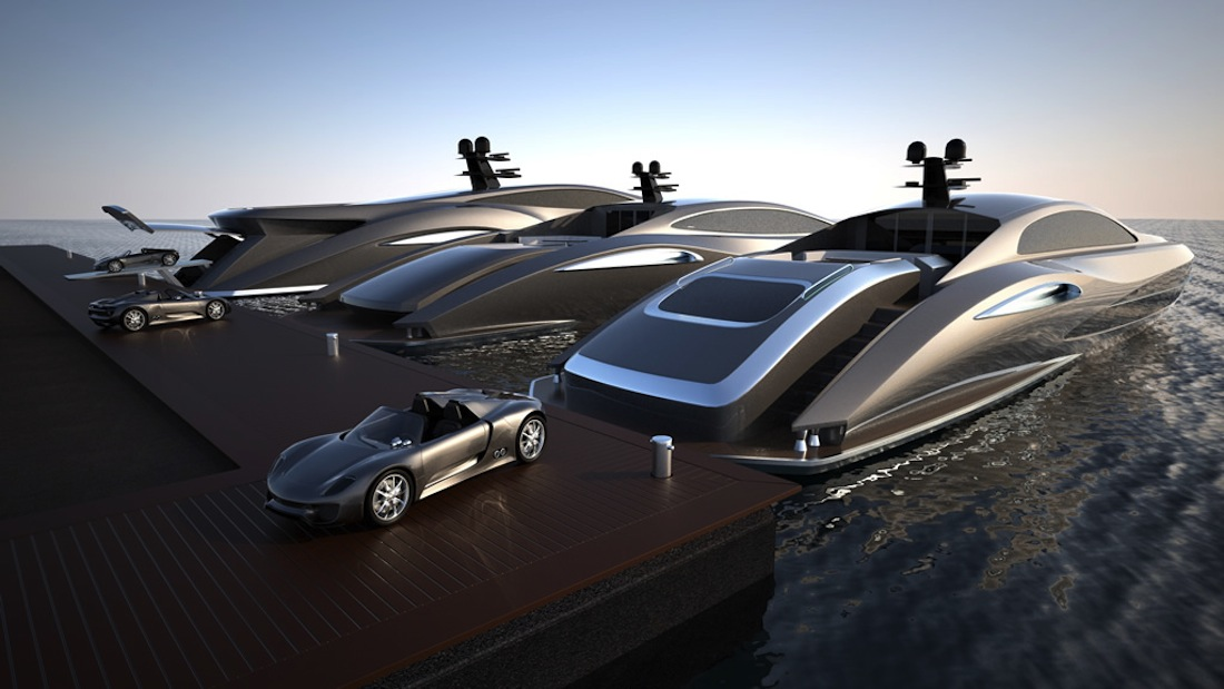 Speed Boat Yacht With Speed Boat Garage