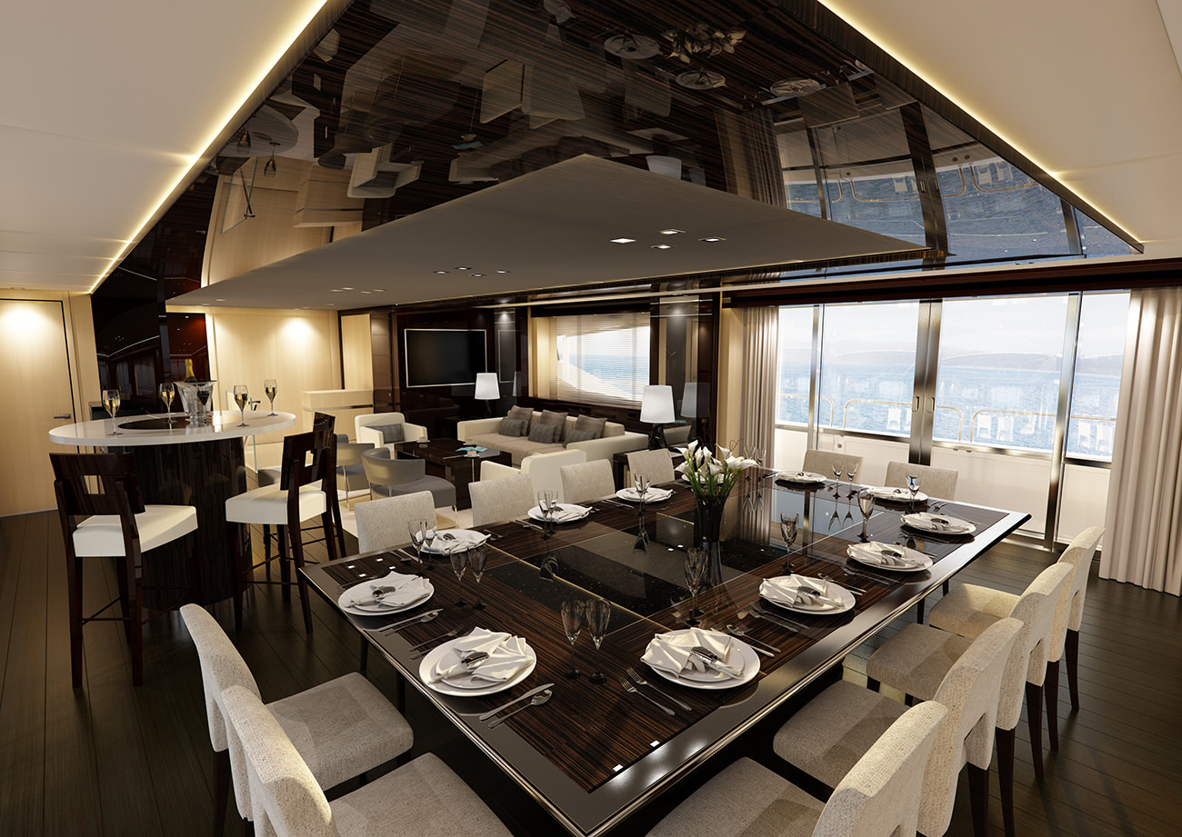 Le yacht 155 le nouveau mod le phare de sunseeker for Interieur yacht