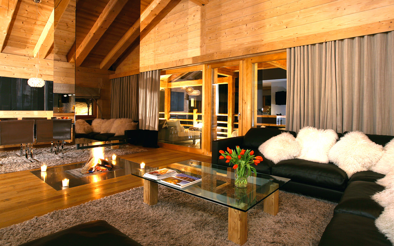 Le chalet spa verbier cocooning en plein coeur des alpes for Living salon